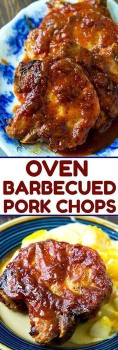 Easy Oven Barbecued Pork Chops - Make it Hungry Barbecue Pork Chops, Sauce Barbecue, Pork Ribs, Bbq Porkchops In Oven, Bbq Baked Pork Chops, Oven Baked Pork Chops, Grill Barbecue, Boneless Pork Chops, Pork Recipes
