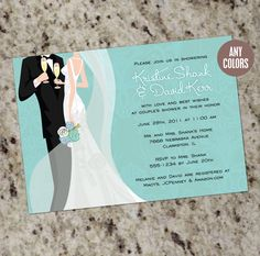 COUPLE'S SHOWER - Bridal Shower Invitations - Any Color - Print Your Own
