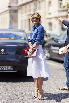 The midi skirt. And a denim shirt. Brilliant. Of course, it's Olivia.