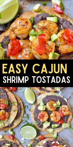 With their combination of Spicy Cajun flavors and creamy avocado, these crispy Shrimp Tostadas are a refreshing way to shake you out of your recipe rut! #tacos #shrimp Wrap Recipes, Lunch Recipes, Easy Dinner Recipes, Seafood Recipes, Mexican Food Recipes, Easy Meals, Dinner Ideas, Slow Cooker Recipes, Beef Recipes