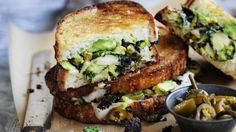 The ultimate cheese toastie is golden, pan-fried and oozing with cheese and jalapeno chillies can be stacked full of roasted broccoli and wilted kale. Lunch Recipes, Wine Recipes, Healthy Recipes, Healthy Food, Cheese Toasties, Toast Sandwich, Weekly Meal Planner, Weekly Menu, Sandwich Fillings