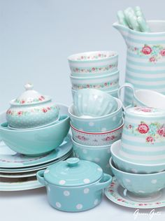 robins egg blue rose china set ღ