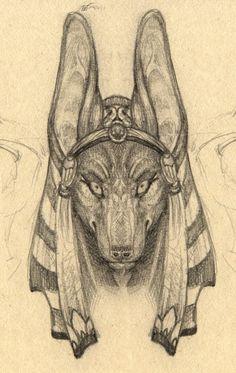 Anubis Portrait Sketch by ~cheshiresphynx on deviantART;