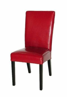 """4 PCS set CAPPUCCINO Red Leather Dining Chairs MD002-R by Chans E Shop. $525.00. Dark mahagony legs. size: 18 x 21 x 38""""H. $525.00 for 4 pcs.   Additioal chair $125.00 each. Red genunine leather. No assembling require. Hand sew red leather dining chairs. Have questions: reach us at 800-838-3867. Save 34%!"""