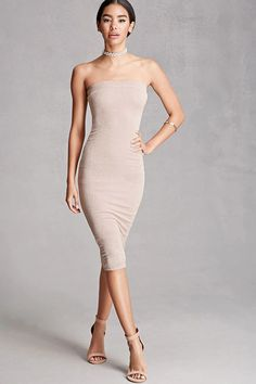 A stretch-knit bodycon midi dress featuring a tube top neckline with an elasticized band, and a metallic shimmer. This is an independent brand and not a Forever 21 branded item.