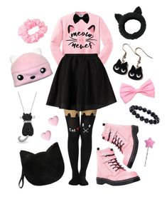 """""""Meow or Never"""" by cosmicstarprince ❤ liked on Polyvore featuring River Island, ONLY, T.U.K., Forever 21, American Apparel, Cotton Candy, Bling Jewelry and Eugenia Kim"""