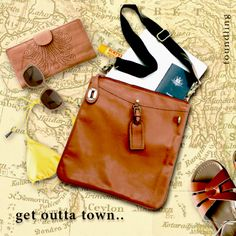 get outta town ..with the perfect travel companion -  Vintage style tan leather cross-body messenger bag.. made exclusively for foundling.. www.foundling.com.au