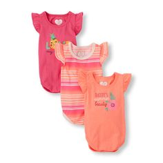 Baby Girls Short Flutter Sleeve Graphic and Striped Bodysuit 3-Pack | The Children's Place