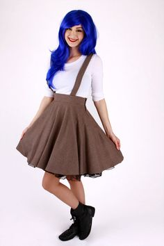 e09e43aab6a Brown Tweed Circle Skirt with Suspenders. Suspender SkirtDapper DayPlus Size  ...