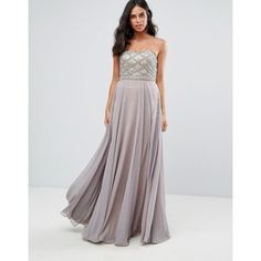 Forever Unique Sweetheart Maxi Dress (€235) ❤ liked on Polyvore featuring dresses, gowns, grey, prom dresses, sweetheart cocktail dress, gray cocktail dress, tall cocktail dresses and maxi cocktail dresses