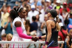 Williams vs. Larsson   September 3, 2016 - Serena Williams shakes hands with Johanna Larsson during the 2016 US Open at the USTA Billie Jean King National Tennis Center in Flushing, NY.