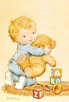 Sarah Kay, baby with teddy bear Boy Illustration, Illustrations, Sara Kay, Scrapbook Cover, Holly Hobbie, Cute Teddy Bears, Australian Artists, Fabric Painting, Cute Stickers