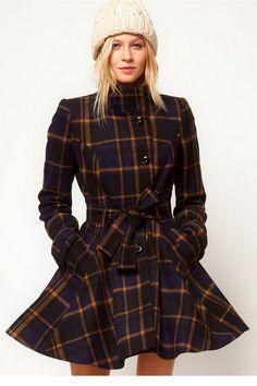 Swing plaid coat