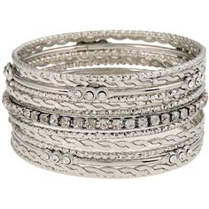Rhinestone Layered Bangle 13pcs ($7.99) ❤ liked on Polyvore featuring jewelry, bracelets, layered jewelry, rhinestone jewelry, bangle bracelet, rhinestone bangle bracelet and bracelets bangle