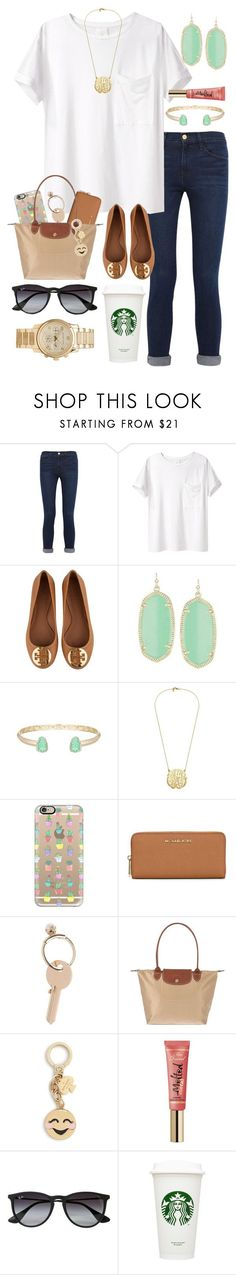 """""""something big, I feel it happening"""" by lindsay-mccartney ❤ liked on Polyvore featuring Frame Denim, AR SRPLS, Tory Burch, Kendra Scott, Casetify, MICHAEL Michael Kors, Maison Margiela, Longchamp, Kate Spade and Too Faced Cosmetics"""