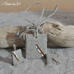 Necklace and earrings. Hemp twine, sand, seashells' chips.