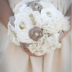 Image detail for -Au naturale fabric flower bouquet by LuxeBoulevard on Etsy Lace Bouquet, Fabric Bouquet, Button Bouquet, Brooch Bouquets, Fabric Flowers, Flower Bouquets, Lace Flowers, Real Flowers, Floral Wedding