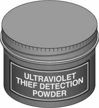 Ultraviolet Thief Detection Powder is designed for thief detection and the identification of stolen or altered items. For example, an article can be marked so that it is invisible to the eye, but under ultraviolet light the item and anyone who touched it can be identified. Powder, once touched, remains on fingers and hands, invisible except under UV light. Tampering, theft, etc., can be revealed as well as evidence against a suspect provided. For use with the Ultraviolet LED Flashlight.