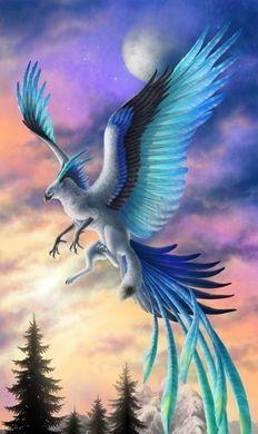 A beautiful blue phoenix beautiful creatures, magical creatures, fantasy cr Mythical Creatures Art, Mythological Creatures, Magical Creatures, Beautiful Creatures, Mystical Creatures Drawings, Mythical Birds, Cute Fantasy Creatures, Fantasy Kunst, Bird Drawings