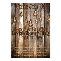 Couples Bridal Shower BBQ Rustic Wood Invitation - invitations personalize custom special event invitation idea style party card cards