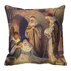 Vintage Religious Christmas, Nativity Magi Wisemen Throw Pillow
