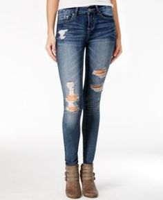 Indigo Rein Juniors' Ripped Skinny Jeans - Blue 3