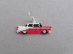 Classic Car Earrings in delica seed beads от DsBeadedCrochetedEtc