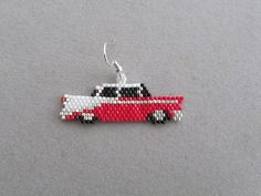 Classic Car Earrings in delica seed beads by DsBeadedCrochetedEtc