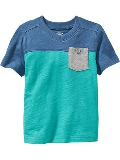 Color-Block V-Neck Pocket Tees for Baby Product Image