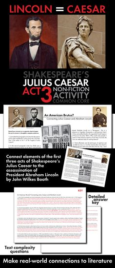 After your class has finished Act 3 of William Shakespeare's tense drama, The Tragedy of Julius Caesar, take a break from the play and use this 45-minute non-fiction lesson to draw compelling parallels between the actions of Cassius, Brutus, and the other conspirators with the actions of John Wilkes Booth, the assassin who killed President Abraham Lincoln in 1865.