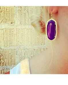 Kendra Scott Elle Earrings in Purple Jade & Gold