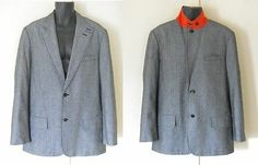 Michael Kors Suit Men 46 Cotton Houndstooth Sport Coat Jacket Orange High Collar