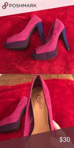 Candies tri colored high heels Worn once. Purple, blue, pink Candies platform heels. Super cute and in great condition. Candie's Shoes Heels