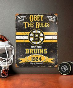 This Boston Bruins Vintage Metal Sign by Party Animal is perfect! #zulilyfinds