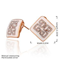 Arlumi 18k yellow gold plated clear crystal zirconia geometry c hoop arlumi 18k rose gold plated crystal zirconia square geometry stud earrings e796 publicscrutiny Image collections