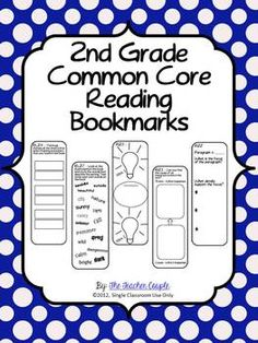 2nd Grade Common Core Reading Bookmarks.  Could add some of these into Literature Circle work to add some choice and some time to cut and create. Maybe I would put 3 bookmarks on a page and they would have to choose 2 of them to complete for their story?