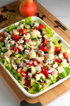 Asian Pear and Cranberry Chopped Salad. Crisp pears and crunchy vegetables with sweet cranberries and tangy blue cheese make this colourful fall salad. A family favourite, perfect for potlucks. |www.flavourandsavour.com