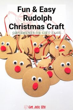 Click and see how to make these easy and fun Rudolph Christmas Gift Tags or DIY Ornaments. They're a great holiday paper craft for kids and they make an inexpensive teacher or Secret Santa gift idea. Christmas Craft Projects, Christmas Ornament Crafts, Paper Ornaments, Christmas Gift Tags, Holiday Crafts, Rudolph Christmas, Kids Christmas, Christmas Decor, Holiday Decor