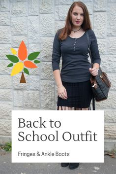 Back To School Outfit a fringed black skirt, paired with a very comfortable long-sleeved blouse and a pair of black ankle boots. Fringe Ankle Boots, Black Ankle Boots, Back To School Outfits, Fringes, Blogging, Personal Style, Fashion Outfits, Group, Lifestyle