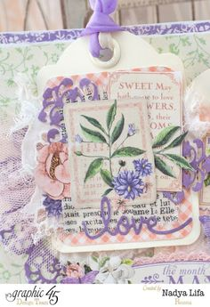 The beautiful ATC tags on Nadya's Time to Flourish May card #graphic45
