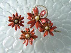 Judy Lee Enamel And Faux Pearl Red Flower Demi Parure – Vintage Lane Jewelry