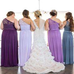 @lindsayg2327 shades of purple lace and mesh bridesmaids from David's Bridal