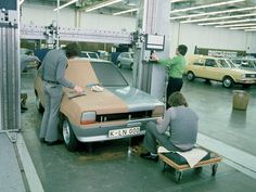 #Clay Modelling of the first-generation #Ford #Fiesta back in 1974. Note #Honda and #Audi in the background for reference.