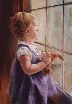 Looking Out - pastel on paper by Bev Lee