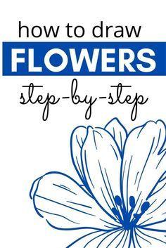 Easy Flower Drawings, Flower Art Drawing, Flower Drawing Tutorials, Easy Drawings, Easy Sketches To Draw, Easy Drawing Steps, Basic Drawing, Watercolor Paintings For Beginners, Watercolor Art Lessons
