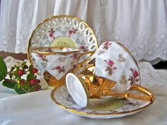 Vintage Teacups and Saucers Royal Sealy Japan Pair Teacups and Saucers Opalescent Luster