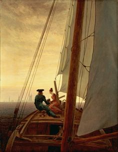 On a Sailing Ship Caspar David Friedrich 1819  Our eyes are directed towards the prow of the boat, where a couple are sitting. They are holding hands and gazing at the distant city ahead, its church spires and buildings emerging hazily from the mist. The woman is Caroline, the artist's wife, and the man is probably intended to be Friedrich. The artist is possibly referring here to the motif of the ship of life, to the notion of life as a journey from this world to the next.