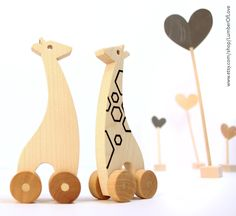 Baby Giraffe Natural Wood Push Toy - with Tattoo. $16.00, via Etsy.