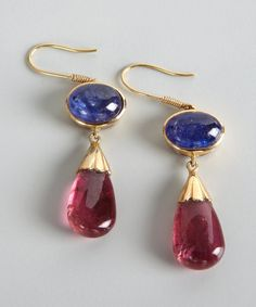 Amrapali women's tanzanite and pink tourmaline drop earrings