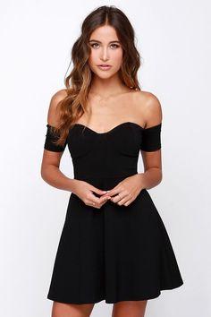 Celebrate Good Times Off-the-Shoulder Black Dress at http://Lulus.com!